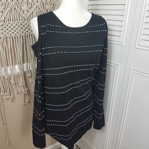 All at once black stripe cold shoulder sweater 1x